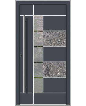 LIM Baner-s -  aluminium front door with natural stone