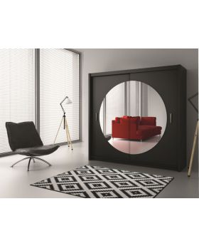 Rugby - black wardrobe with mirror