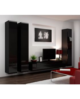 Seattle 8 -  gloss black living room wall unit