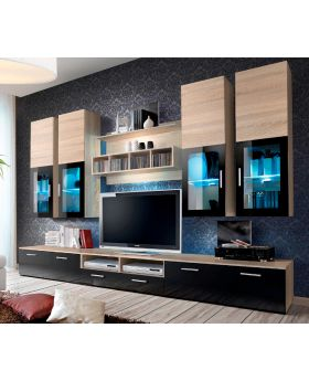 Presto 3 - oak sonoma matt and black gloss tv wall unit