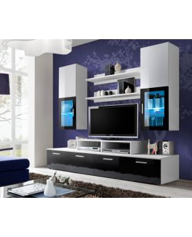 Toledo 2 Black and White high gloss wall unit entertainment center