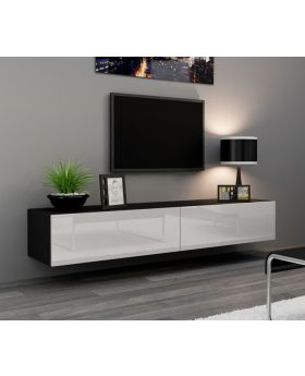 Seattle 24 - Modern TV wall unit with high gloss white MDF fronts